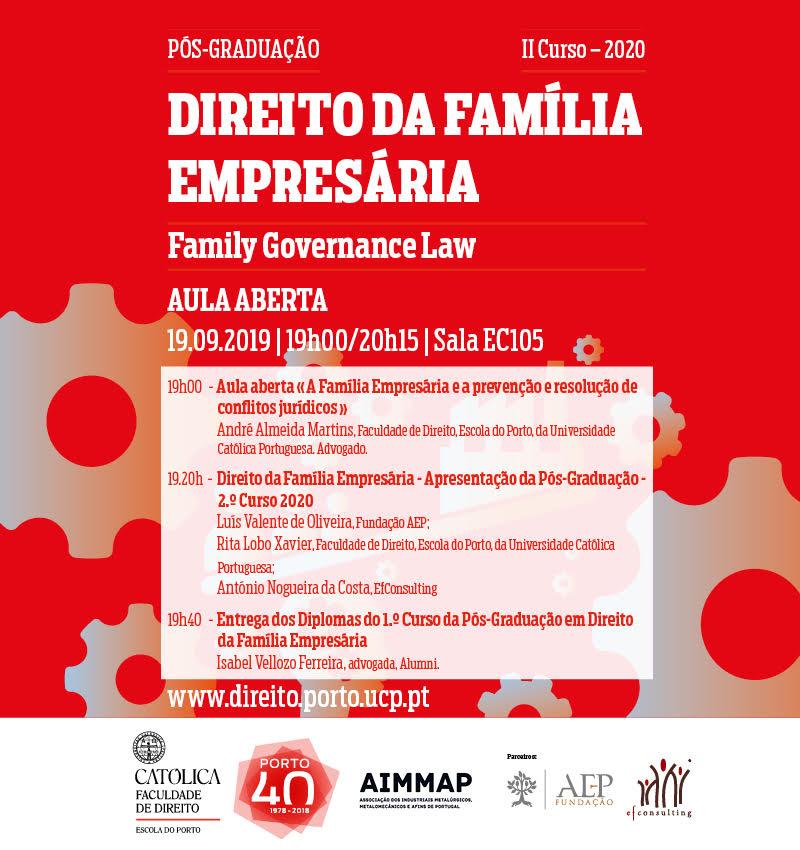 """Aula Aberta: """"A Família Empresária e a prevenção e resolução de conflitos jurídicos"""""""